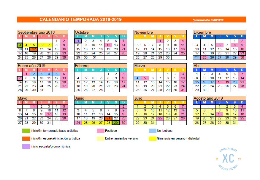 Calendario temporada 2018-2019 cxc